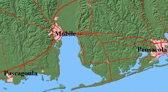Map of Mobile Alabama area